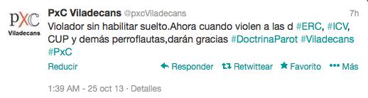 Captura de pantalla del perfil de Twitter oficial de PXC Viladecans