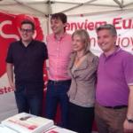 Els candidats del PSC, López i Rivas, aquest cap de setmana a Esplugues amb l'alcaldessa Pilar Díaz