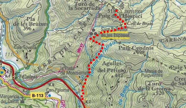 Itinerari (sobre el mapa de l'Institut Català de Cartografia)