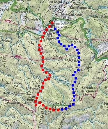 Itinerari: en vermell pujada i en blau descens (Mapa ICC)