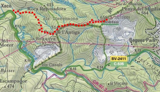 Itinerari (Mapa Institut Català de Cartografia)