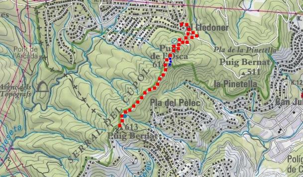 Itinerari: pujada en vermell i variant de tornada en blau (Mapa ICC)