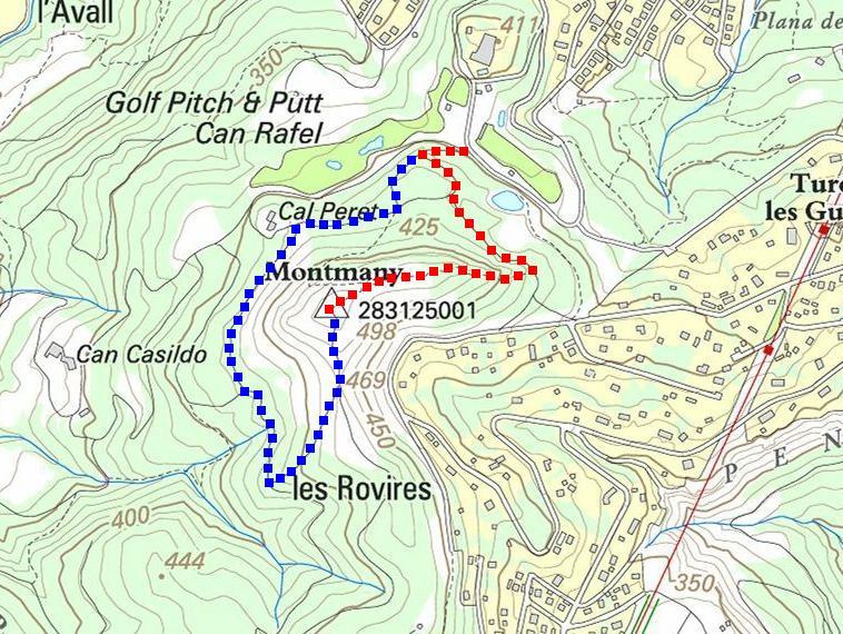 Itinerari de pujada (vermell) i de baixada (blau) (Mapa ICC)