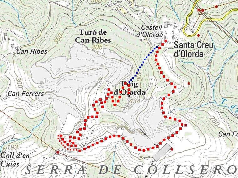 Itinerari: pujada en vermell i baixada en blau (Mapa ICC)